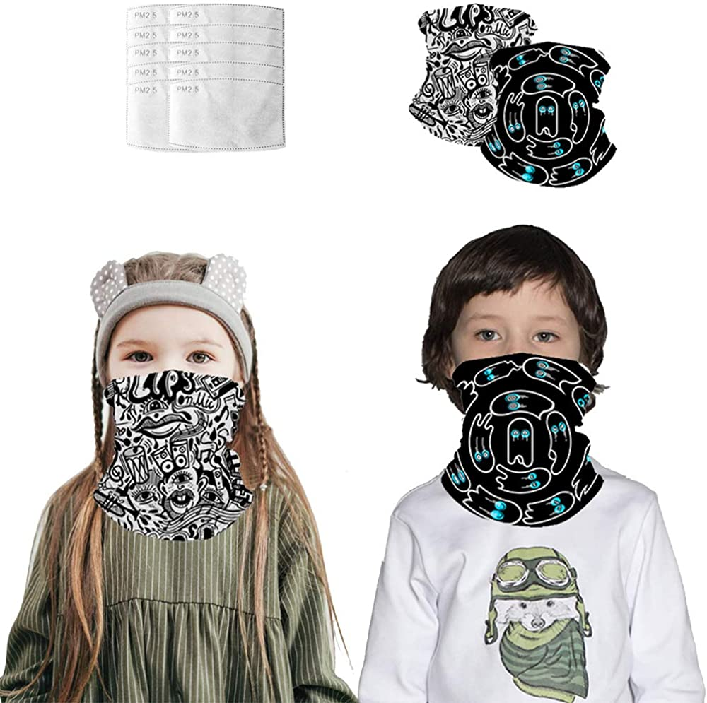 Kids Neck Gaiter with Filter, UV Protection Cooling Face Scarf Balaclava for Cycling Hiking Fishing Sport Outdoor
