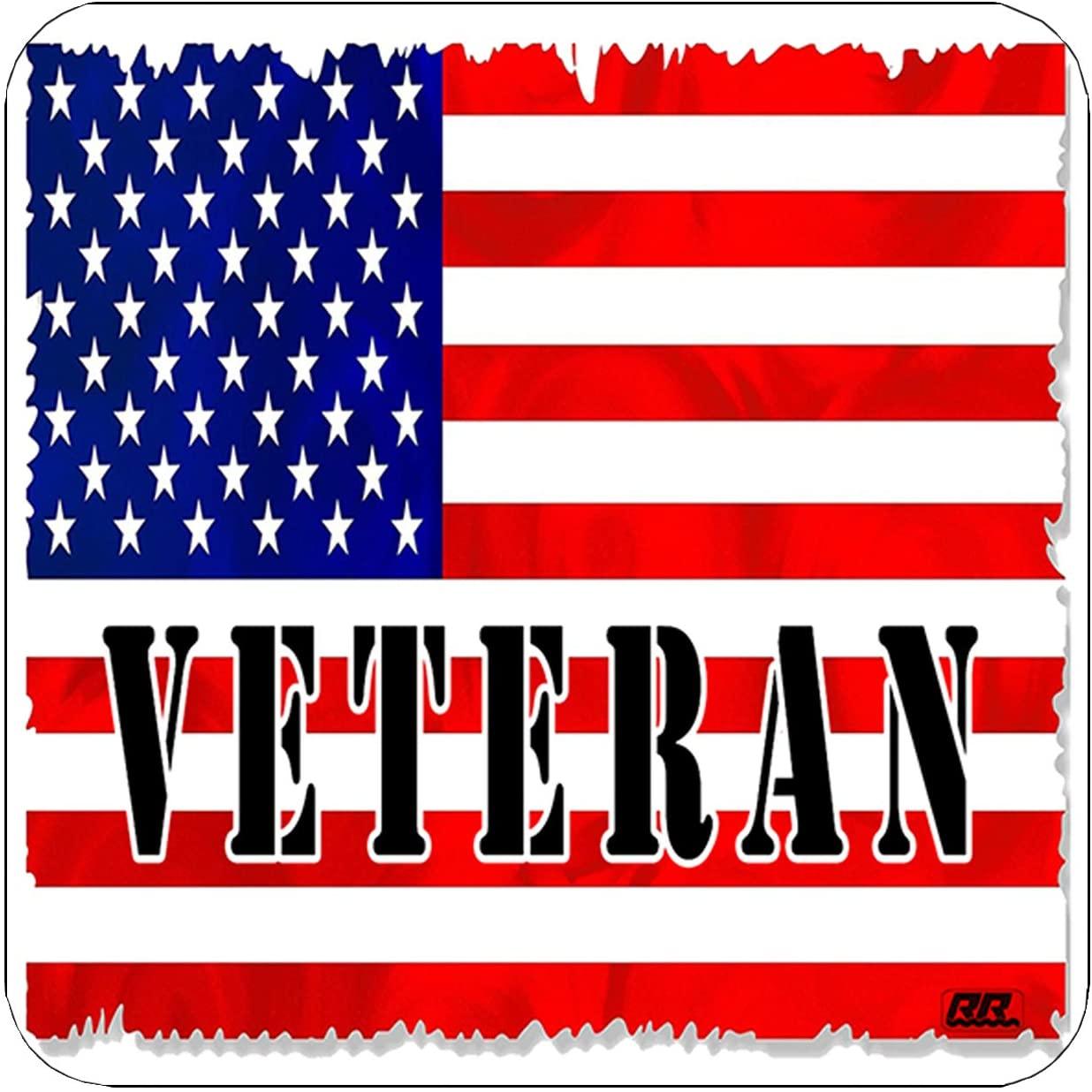 Patriotic USA Flag Veteran Drink Coaster Set Gift United States of America US Bar Kitchen Home