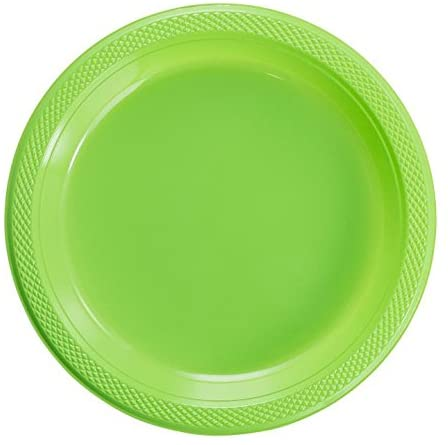 Exquisite Plastic Dessert/Salad Plates - Solid Color Disposable Plates - 100 Count (7 Inch, Lime Green)