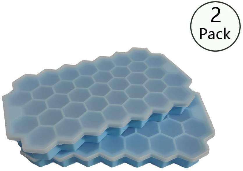 2 Pack Ice Cube Trays Silicone with Lid, Ice Cube Molds for Juice & Cocktails & Bourbon, BPA Free and Reusable (blue)