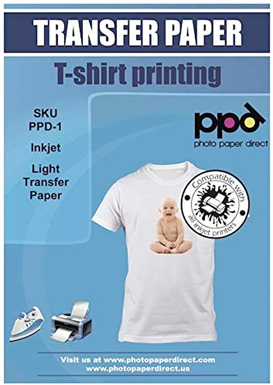 """PPD Inkjet Iron-On Light T Shirt Transfers Paper LTR 8.5x11"""" Pack of 50 Sheets (PPD-1-50)"""