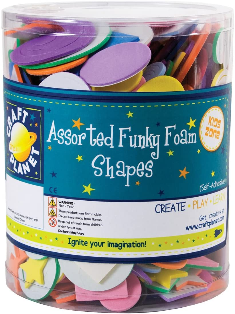 Craft Planet Self Adhesive Funky Foam Shape Tub, Assorted Colours