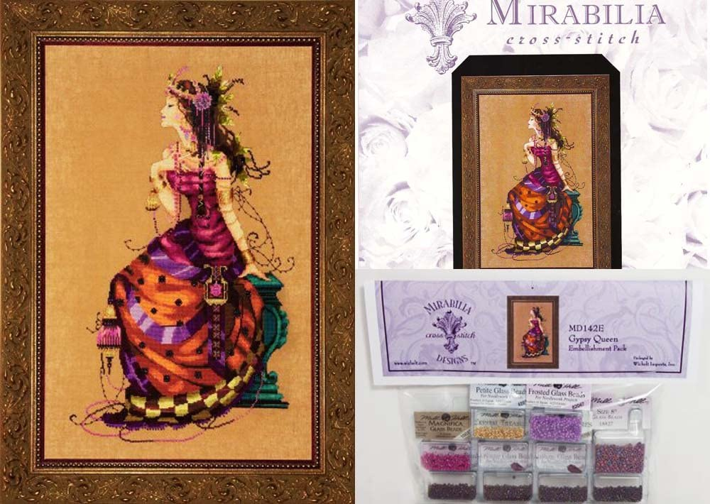 Mirabilia Cross Stitch Chart with Embellishment Pack THE GYPSY QUEEN #142