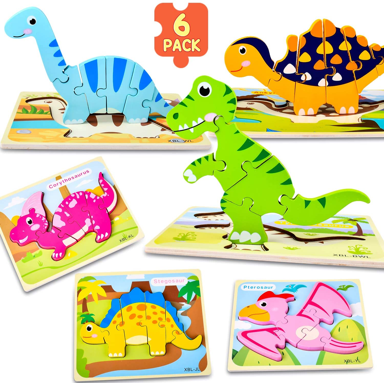 ELIKIDSTO Toys for Toddlers,Montessori Wooden Jigsaw Puzzle Set,6 Pack Animals Dinasurs Shape Color Jigsaw Puzzle for Toddlers Activities,Motor Skill Preschool Learning Toys for 2 3 4 5 Years Kids