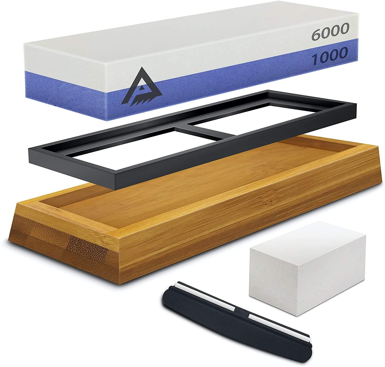 Whetstone Sharpening Stone | Knife Sharpener Stone | Whetstone Sharpening Kit | Dual Side 1000/6000 Sharpening Stone Set & Bamboo Base