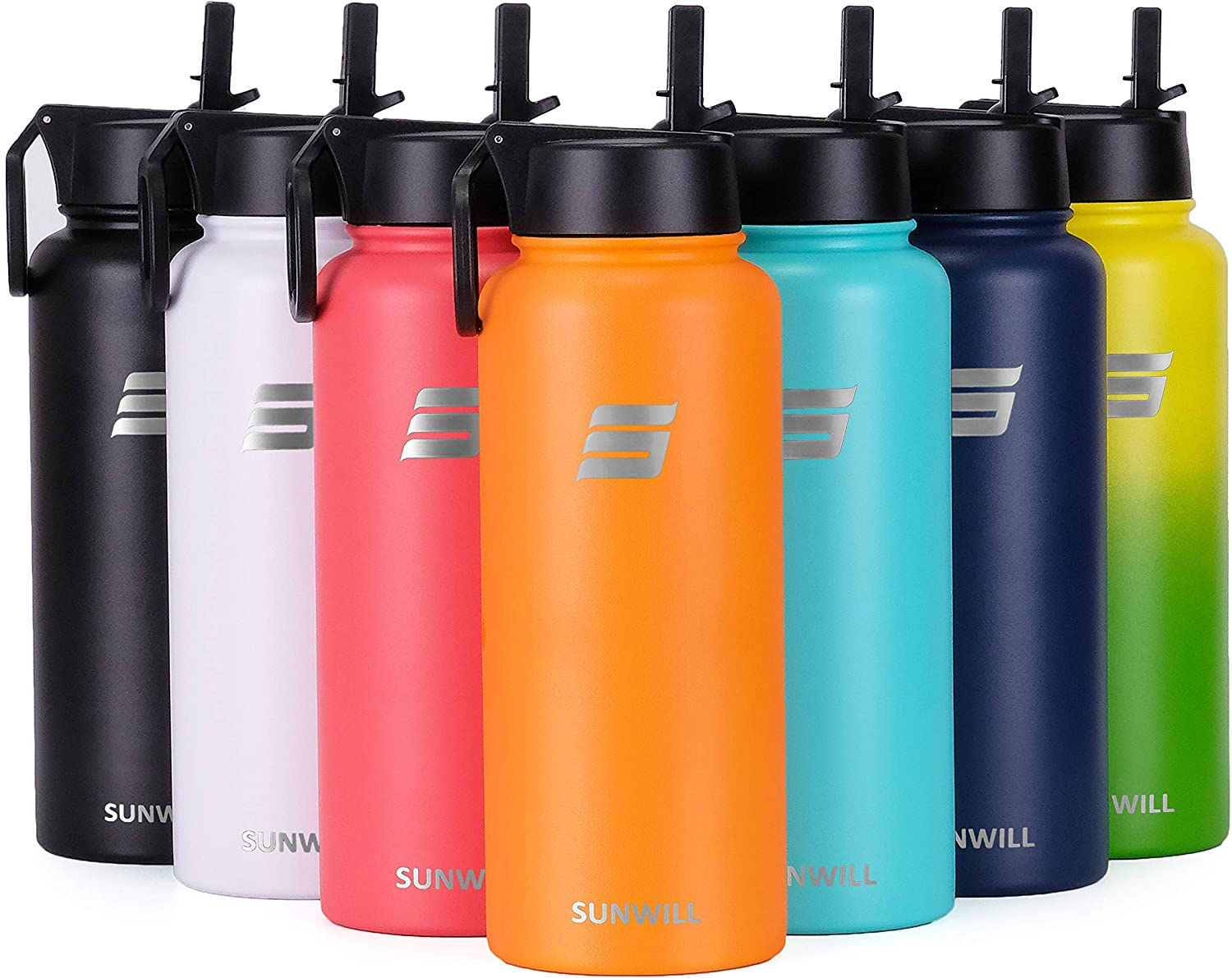 SUNWILL Insulated Water Bottle 32oz with Straw Stainless Steel Reusable Sports Bottle Large Metal Flask, Wide Mouth with Leak Proof Lid, Powder Coated Orange