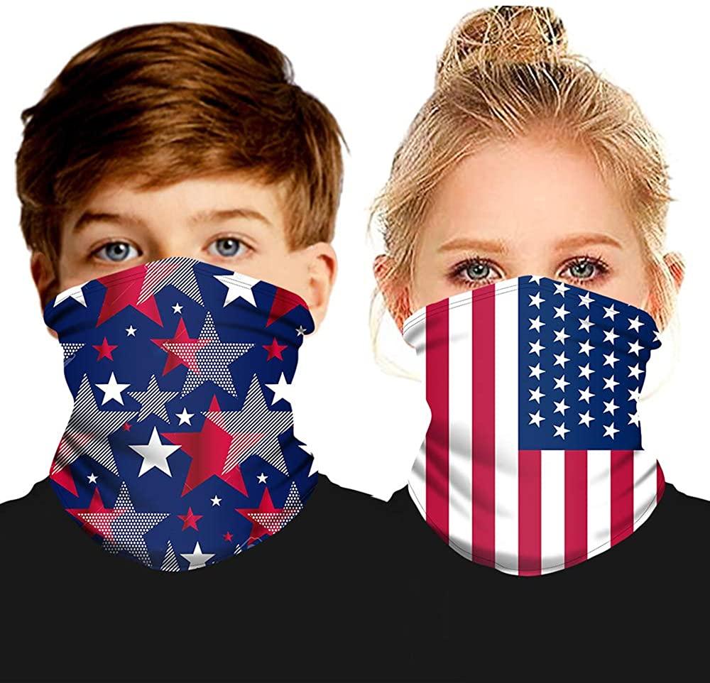 CHUANGLI 2 Pcs Kids Neck Gaiters Tube Face Mask Bandanas Full-Coverage Rave Balaclava Magic Cloth for UV Dust Protection