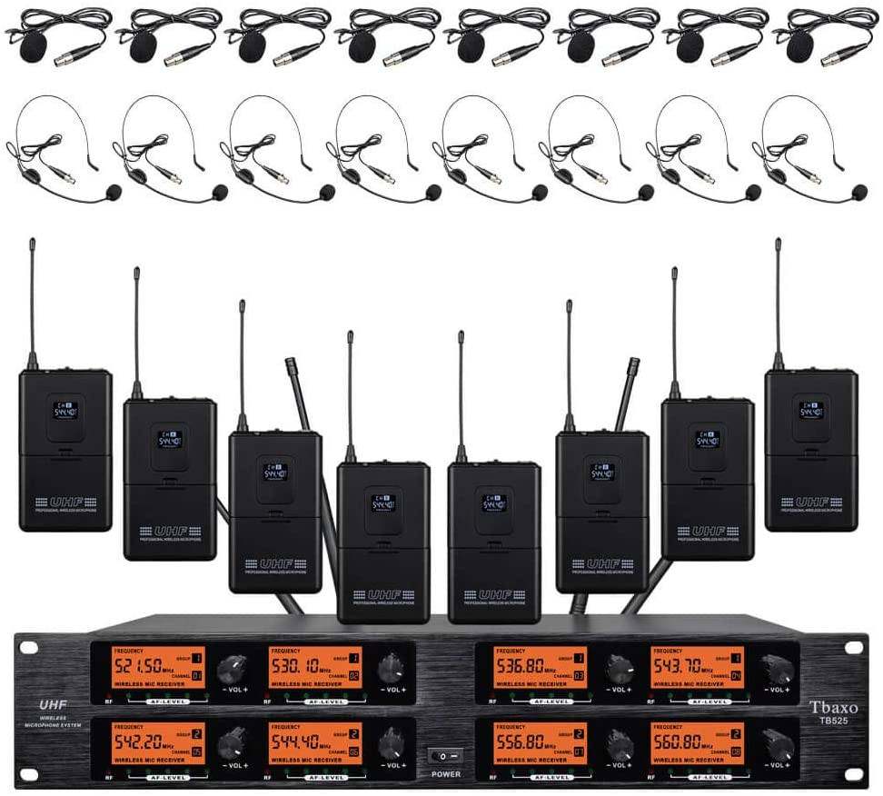 Frequency B Wireless Microphone System 8 Channel Pro Audio UHF 8 Lavalier Bodypacks 8 Lapel Mic 8 Headsets for Karaoke System Church Speaking Conference Wedding Party