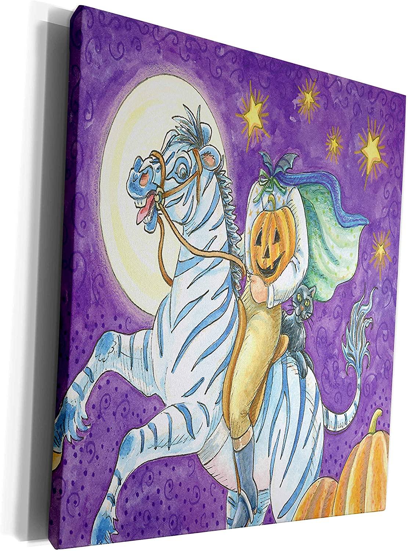 3dRose Anne Marie Baugh - Halloween - Halloween Headless Horseman On A Zebra In The Night - Museum Grade Canvas Wrap (cw_216731_1)