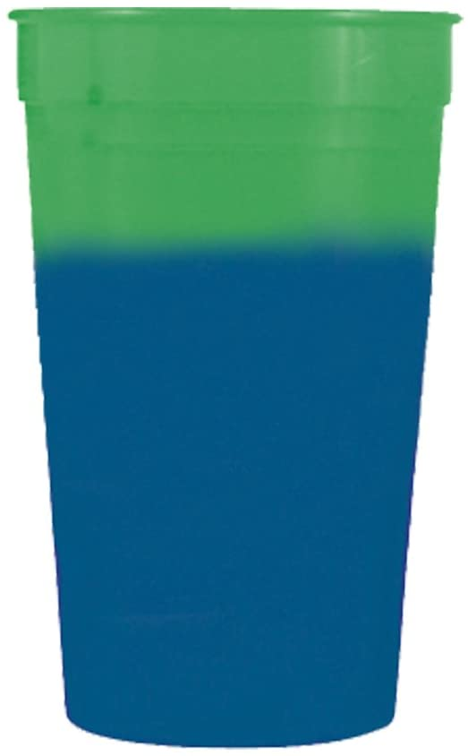 12oz Color Changing Stadium Cup, Set of 12, Green to Blue -MADE IN USA