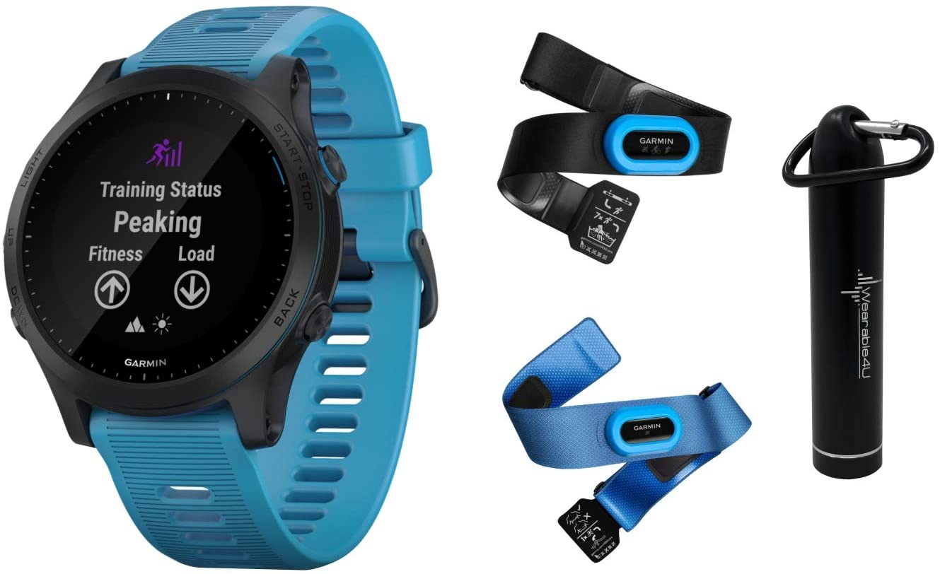Garmin Forerunner 945 Premium GPS Running/Triathlon Smartwatch with Included Wearable4U Power Pack Bundle (Blue, Bundle)