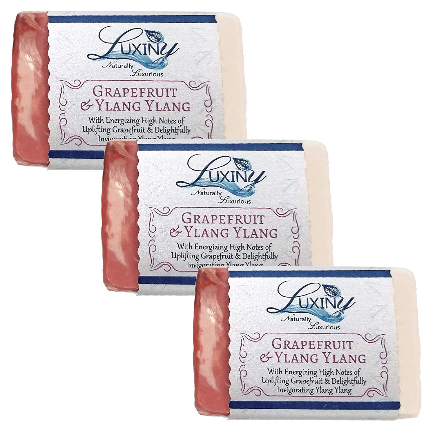 Natural Soap Bar, Luxiny Grapefruit & Ylang Ylang Handmade Body Soap and Bath Soap Bar, Palm Oil Free Vegan Castile Soap with Essential Oil & Rose Clay Exfoliator Gentle on Sensitive Skin (3 Pack)