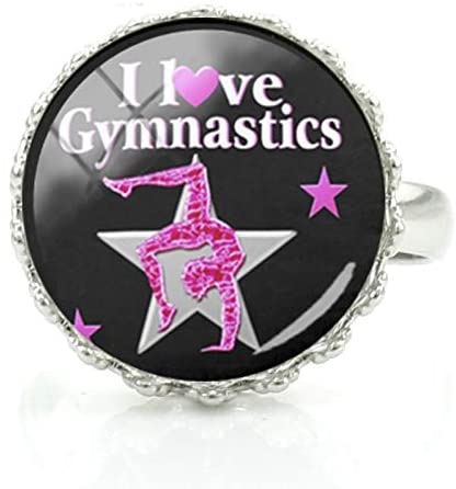 Loves Gymnastics Ring Art Picture Glass Cabochon Dome Rings Sports Fan Adjustable Size Charms Women Jewelry