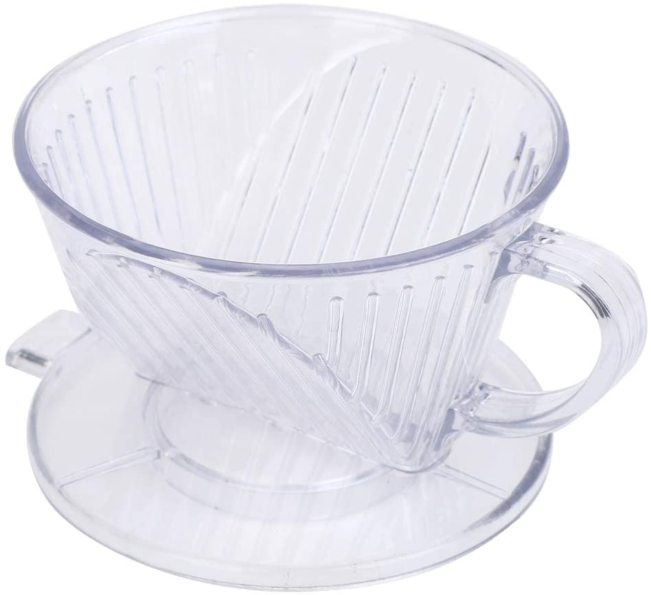 Cone Shape Coffee Maker Filter Cup Dripper Reusable Pour Over Serving Mug ABS Material(S-Transparent)