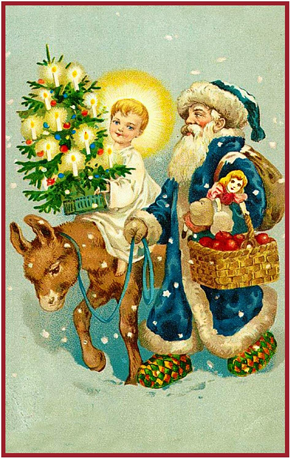 Orenco Originals Father Christmas Santa Child Donkey and Tree Counted Cross Stitch Pattern