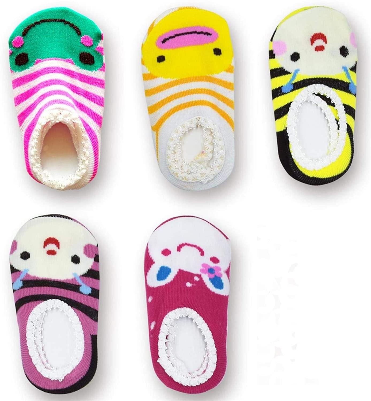 CXP Good Goods Baby Girls' Anti Slip Skid Socks Baby Walker Toddler Cute Stripes Boat Socks for 6-18 Months (5 Pairs)