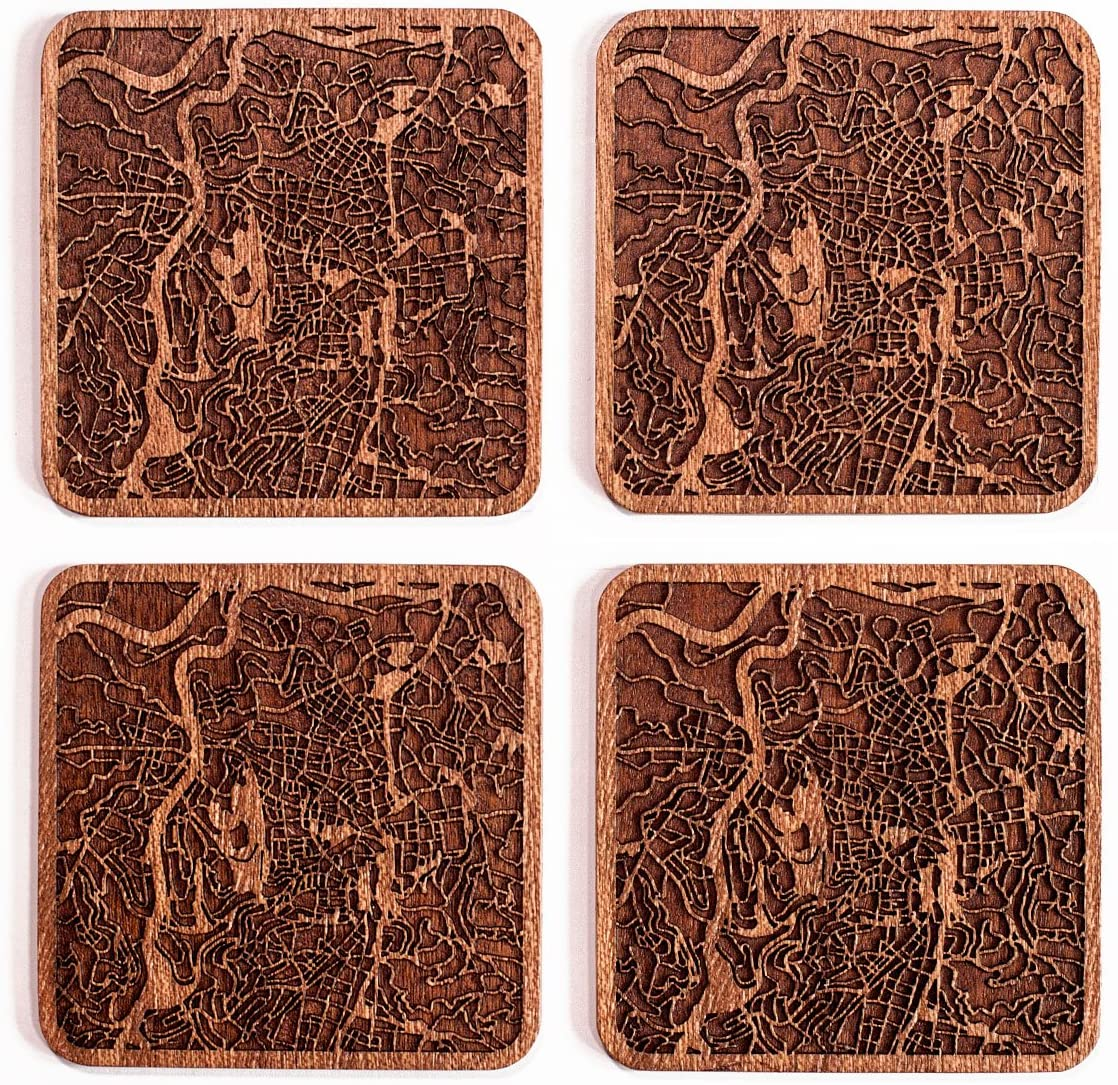 Jerusalem Map Coaster by O3 Design Studio, Set Of 4, Sapele Wooden Coaster With City Map, Handmade