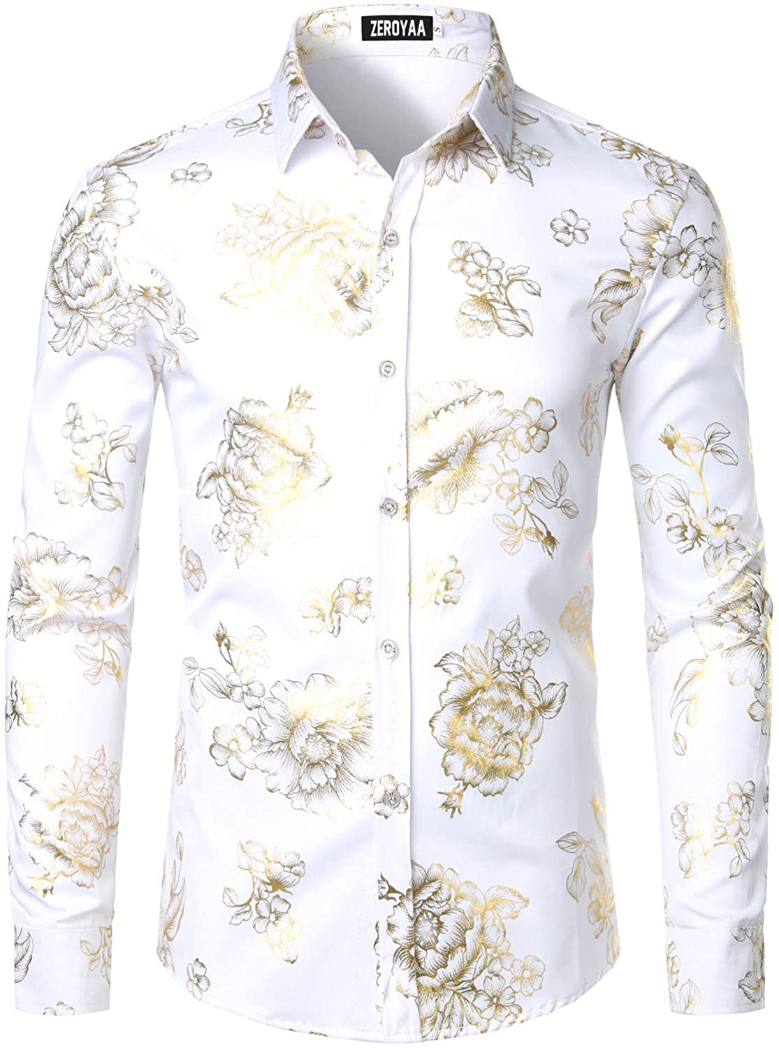 ZEROYAA Men's Luxury Shiny Gold Rose Printed Slim Fit Button up Dress Shirts for Party Prom