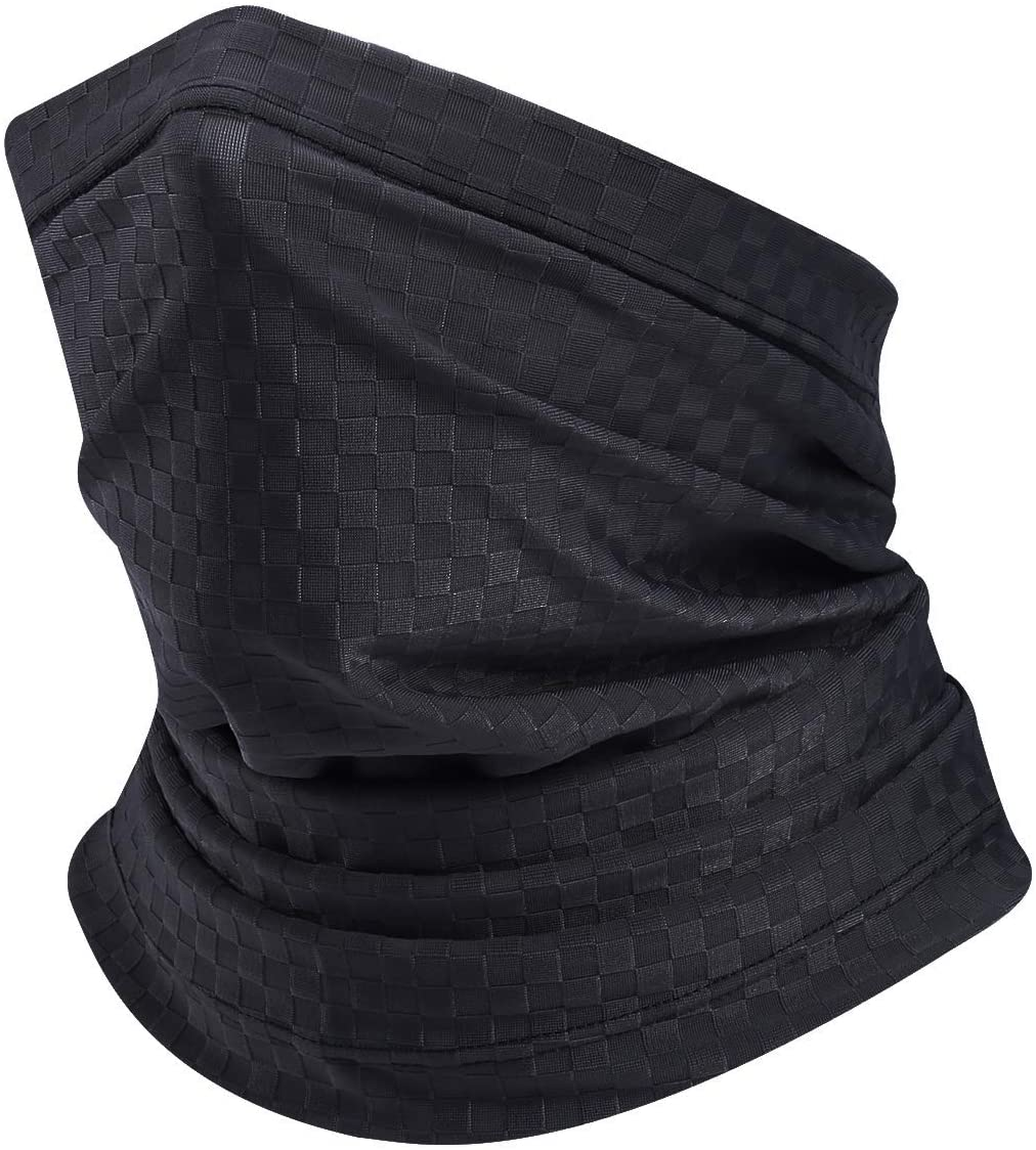 TEUME Men Women Face Mask Neck Gaiter Bandana Reusable Cloth Silk Cooling Fabric Face Cover for Fishing Cycling Motorcycle High Breathing UV Protection UPF 50 (Black)