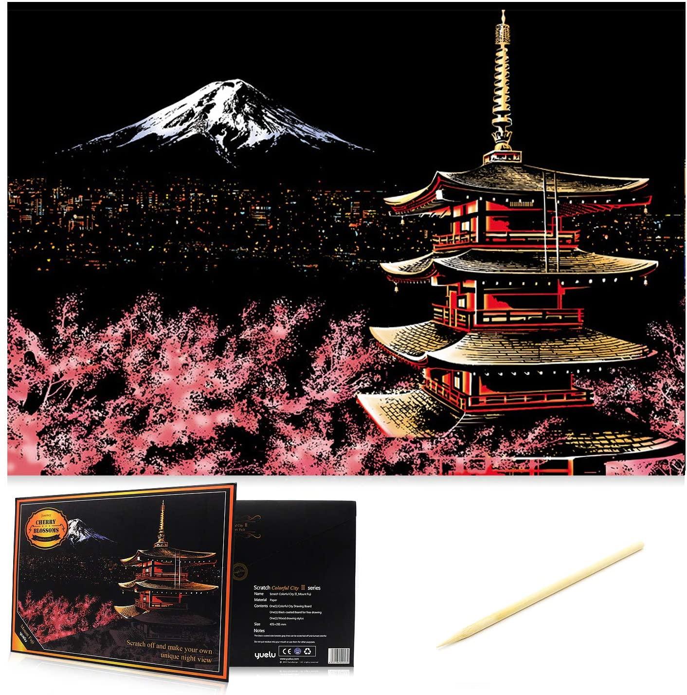 Scratch Art Scratch Paper DIY Night View Scratchboard for Adult and Kids,Night View Series Size 16 x 11.2 (Mount Fuji)