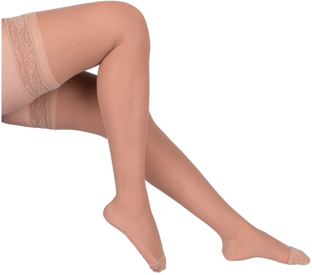 EvoNation Women's USA Made Thigh High Graduated Compression Stockings 8-15 mmHg Mild Pressure Ladies Sheer Socks Lace Top Quality Support Hose - Best Comfort Circulation (Small, Tan Beige Nude)