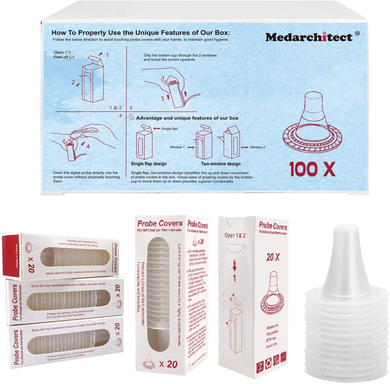 Medarchitect 100 Covers Ear Thermometer Probe Covers Lens Filters, Refill Caps for All Braun ThermoScan Models and Other Types of Digital Thermometers Disposable Covers