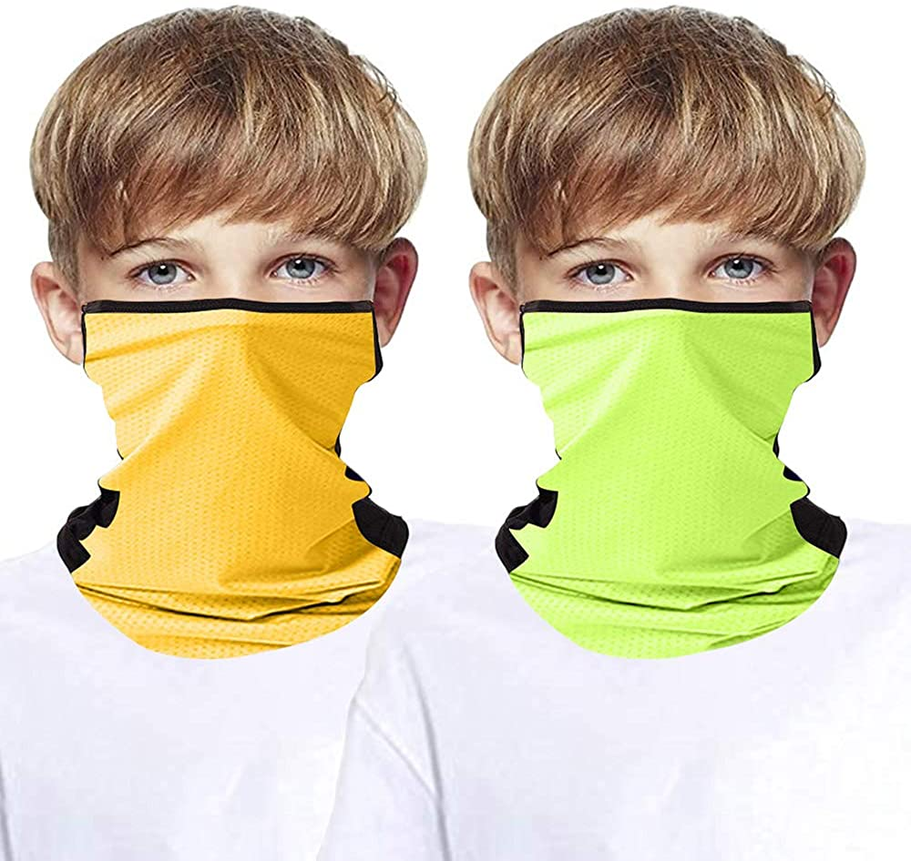 2 Pcs Kids Seamless Bandana Face Mask with Ear Loops, Cooling UV Sun Protection Neck Gaiter Mouth Cover for Boy Girl