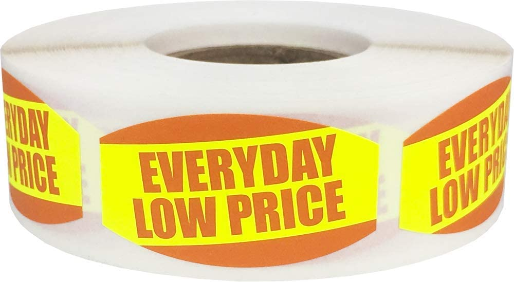 Everyday Low Price Grocery Store Food Labels .75 x 1.375 Inch Oval Shape 500 Total Adhesive Stickers