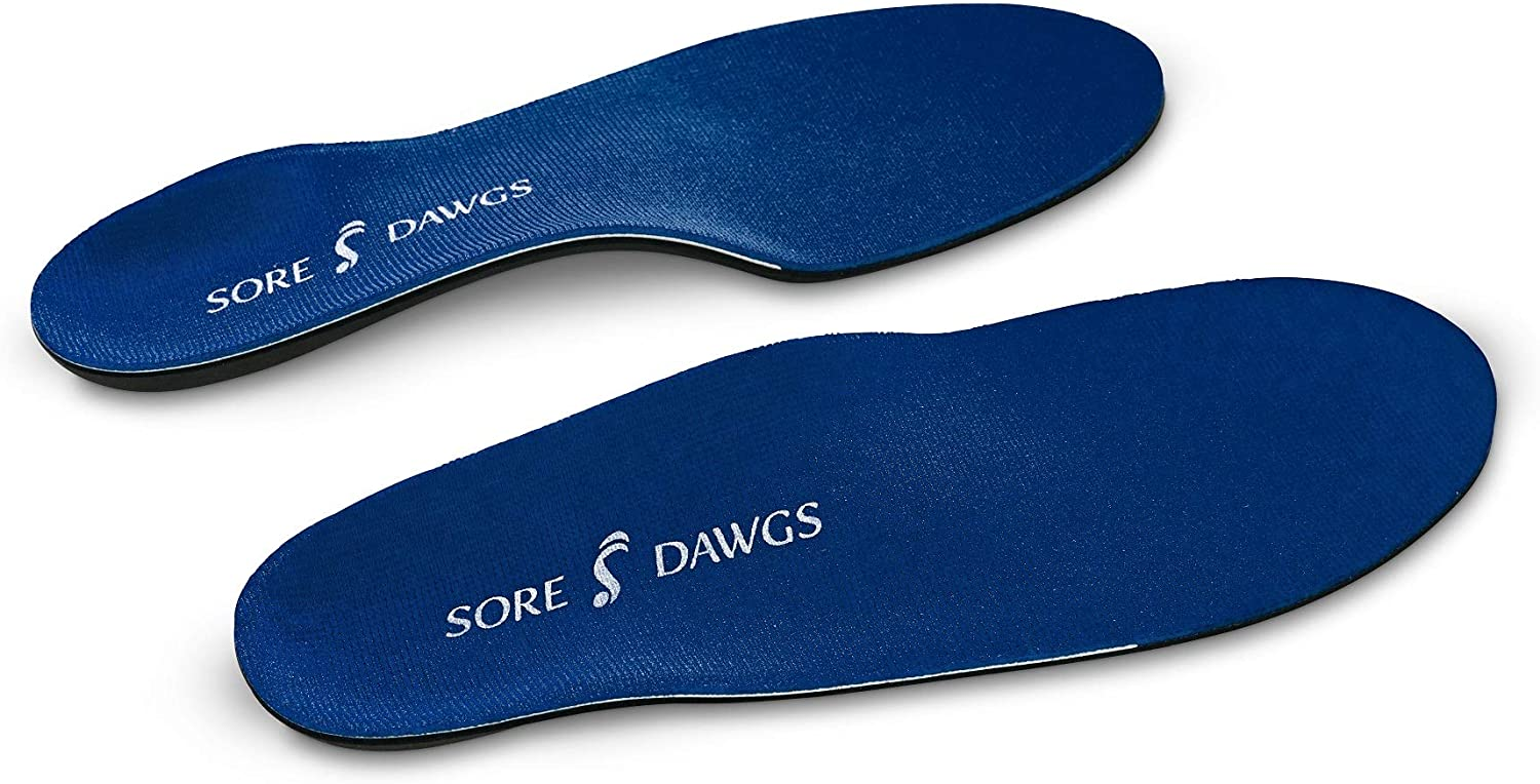 Sore Dawgs Expedition Support Insoles for Low-Arch All-Around Footwear, Blue, Small (Mens 5-7, Womens 5.5-7.5)