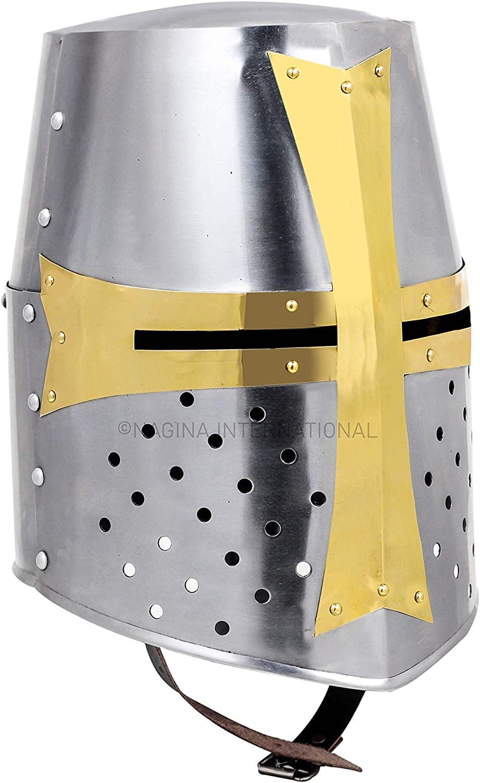 Nagina International Medieval Era Warrior Helmet | Barbuta Crusader Knight Templar Armour Greek Steel Centurion Helmet | Halloween LARP