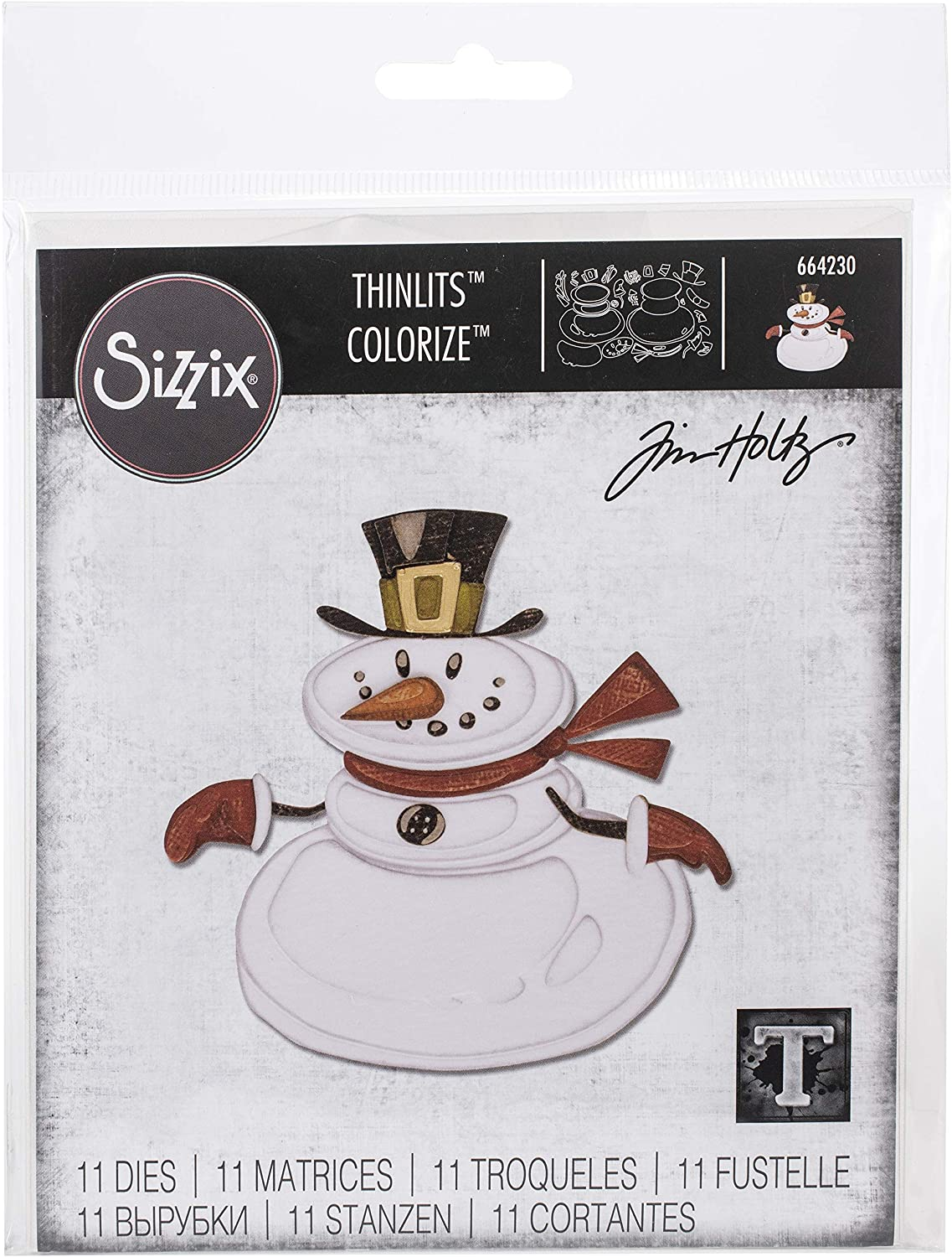 Sizzix Thinlits Die Set 11 Pack Mr. Snowman Colorize by Tim Holtz, Multicolor