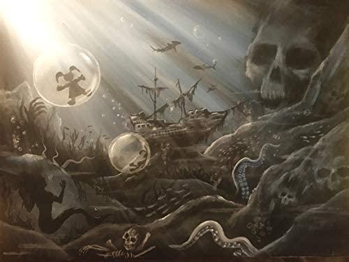 Buyartforless Underwater Nightmares by Ed Capeau 10x8 Acrylic Art Painting Reproduction Canvas, Black