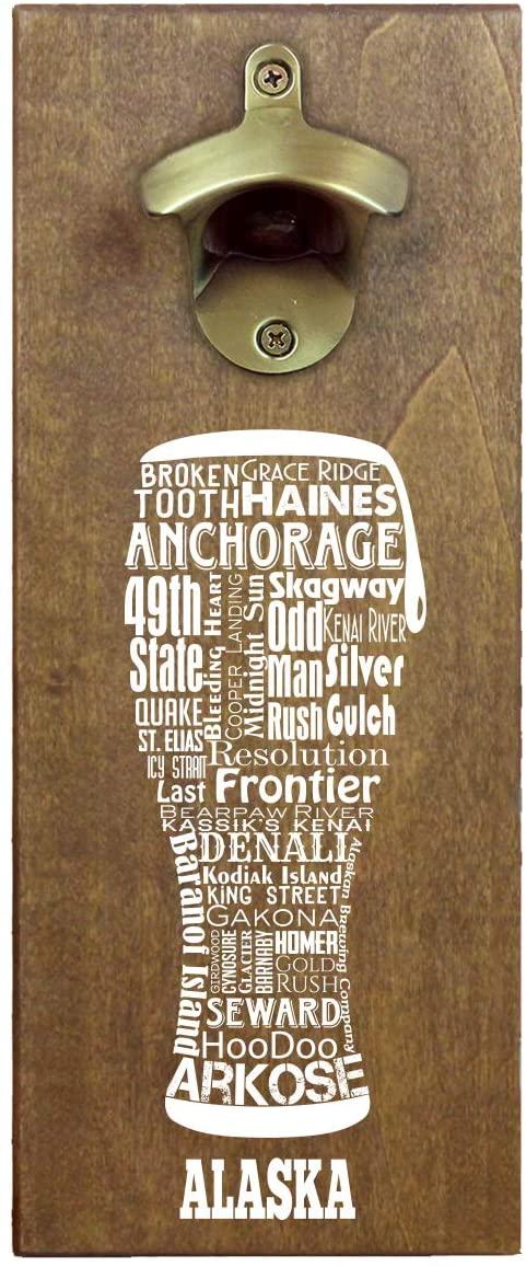 State Craft Beer Typography Wooden Wall Mounted Magnetic Beer Bottle Opener and Cap Catcher (Alaska)