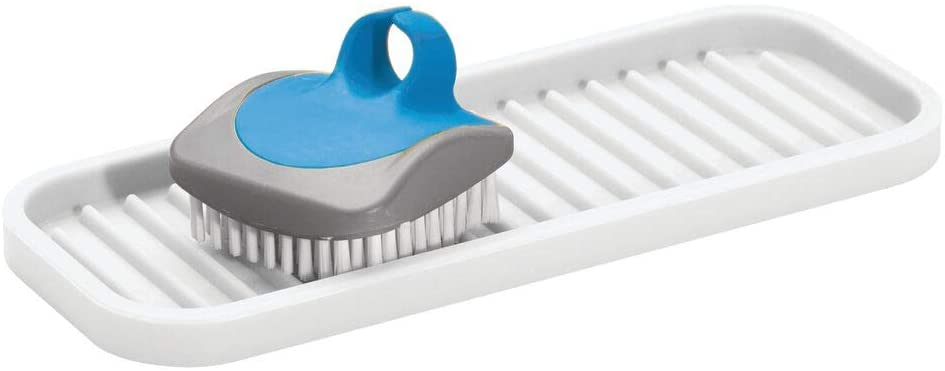 mDesign Silicone Kitchen Sink Storage Organizer Holder Tray for Sponges, Soaps, Scrubbers - Ribbed Base, Quick Drying, Waterproof, Non-Slip Durable - White