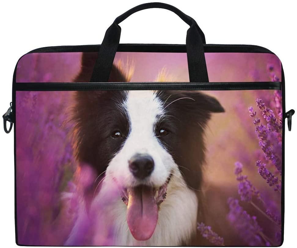 JOYPRINT Laptop Sleeve Case, Floral Flower Cute Dog 14-14.5 inch Briefcase Messenger Notebook Computer Bag with Shoulder Strap Handle for Men Women Boy Girls