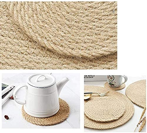 NNAA Woven Hemp Cup Coasters Set of 10 Round Placement for Dining Table (6 inch)