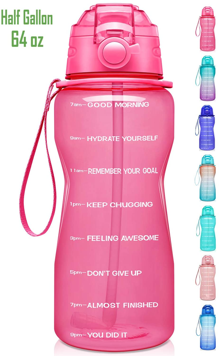 Giotto Large Half Gallon/64oz Motivational Water Bottle with Time Marker & Straw,Leakproof Tritan BPA Free Water Jug,Ensure You Drink Enough Water Daily for Fitness,Gym and Outdoor