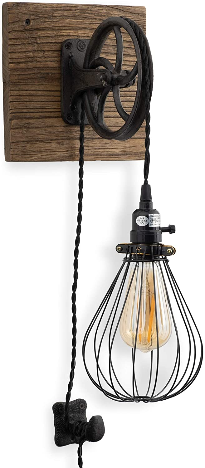 Rustic State Vintage Chic Unique Industrial Wood and Pulley Design Wall Lamp with 15' Fabric Cord Edison Light Bulb Included