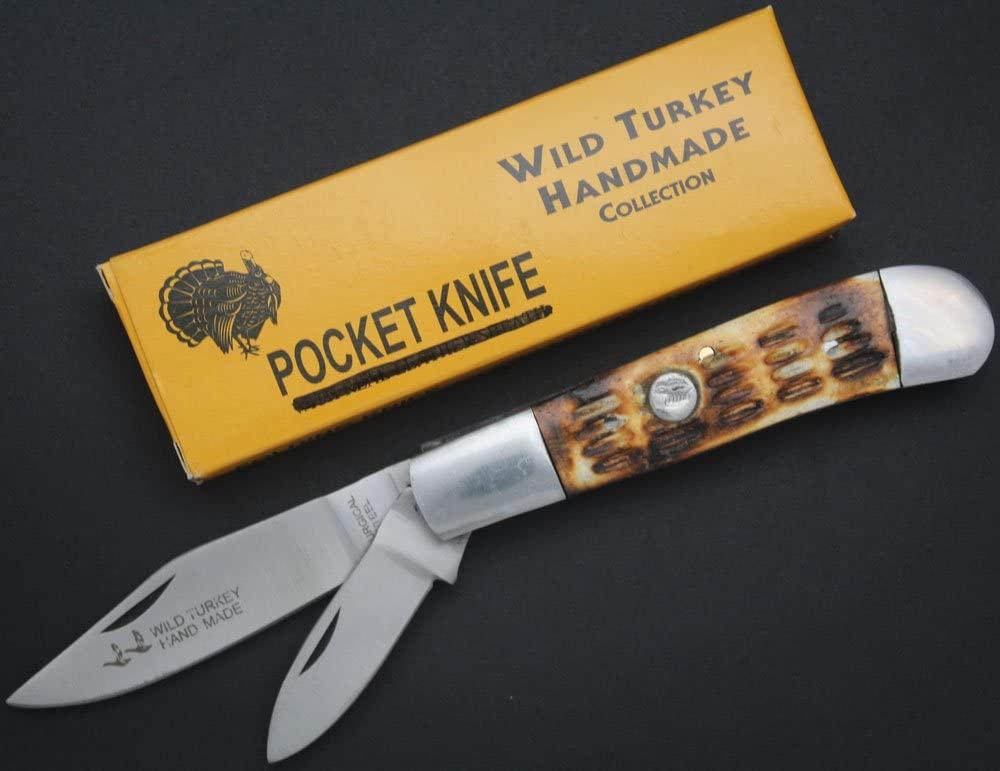Wild Turkey Handmade Dual Blade Bone Handle Survival Folding Pocket Knife Camping Hunting Fishing