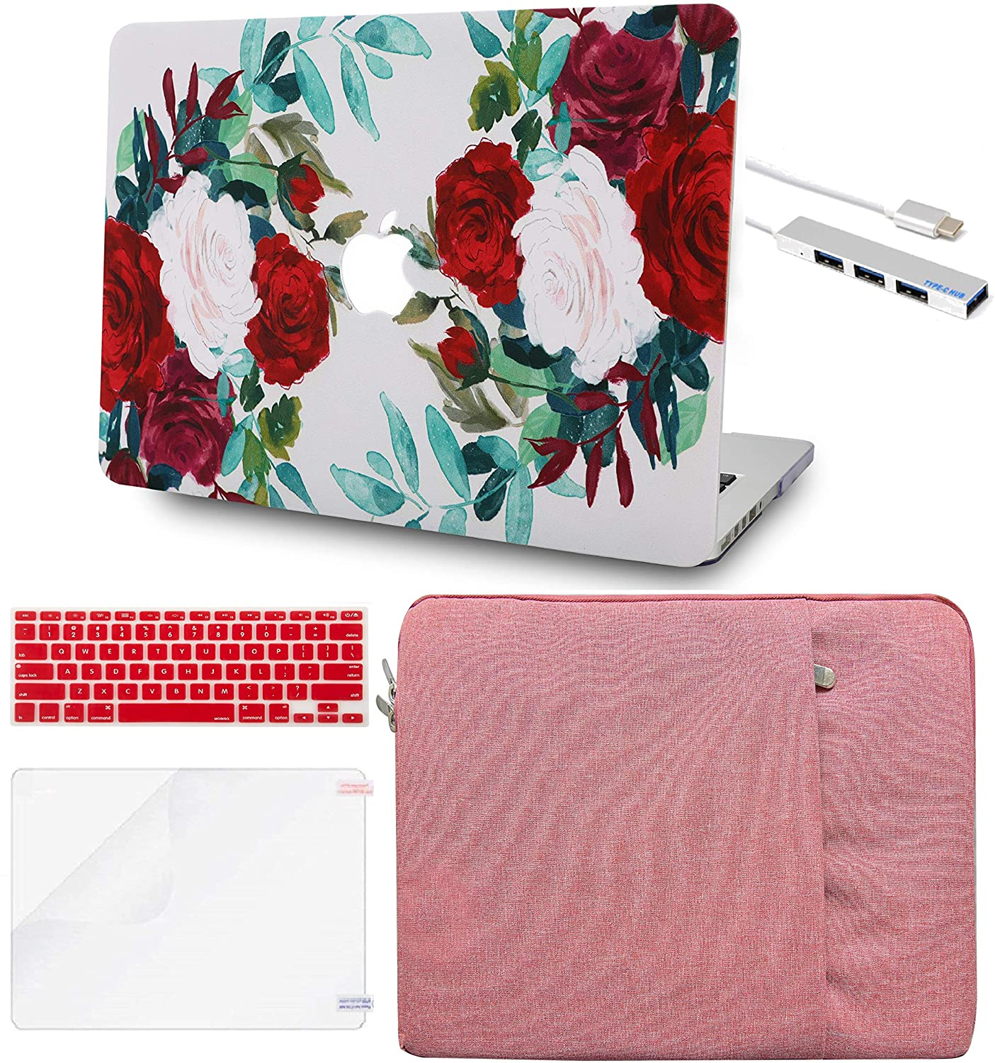 LuvCase 5in1 LaptopCase for MacBook Air 13 Inch(2020/2019/2018) A2179/A1932 Retina Display (Touch ID)HardShellCover with Sleeve, USB Hub, Keyboard Cover and Screen Protector(Flower 25)