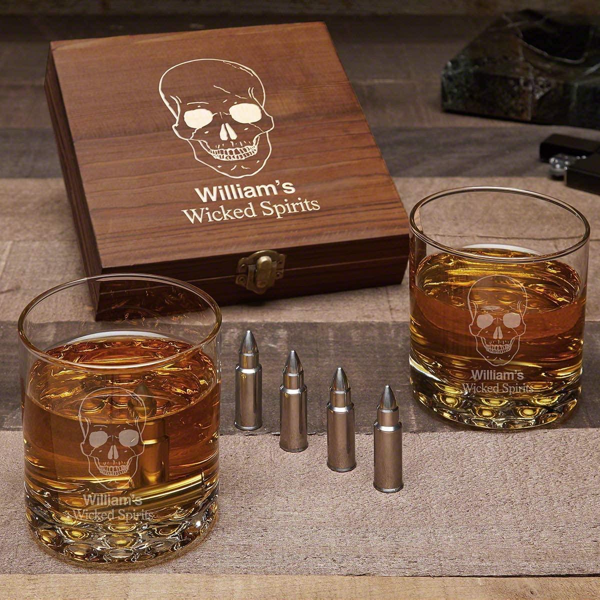 Phantom Skull Personalized Buckman Whiskey Glasses Set with Bullet Whisky Stones (Custom Product)