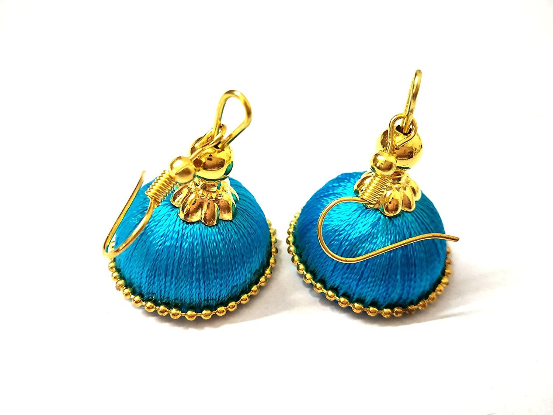 Hot Selling Designer Small Mini Silk Thread Jhumki Earring Set - Turquoise Blue