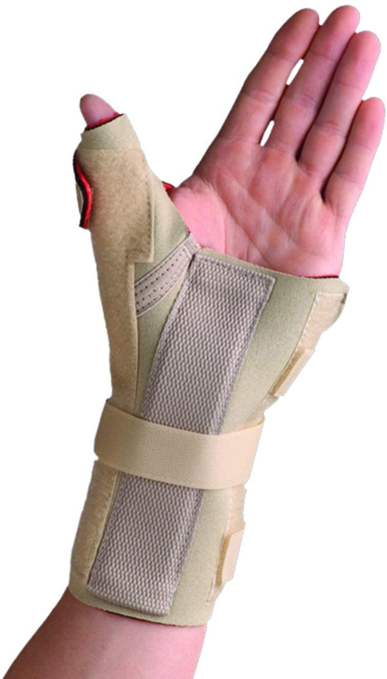 Thermoskin Carpal Tunnel Brace Wrist Support with Thumb Spica, Left, Medium, Beige
