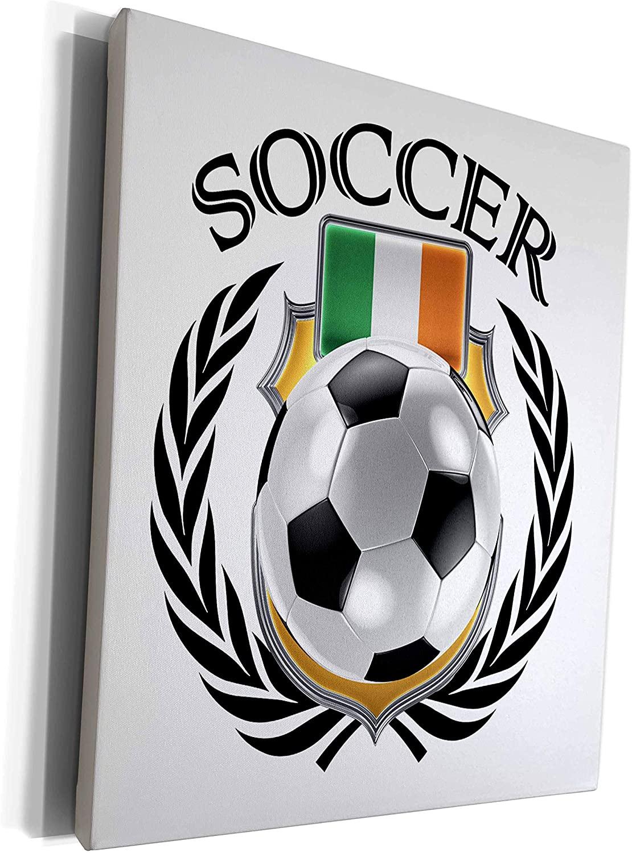 3dRose Carsten Reisinger - Illustrations - Republic of Ireland Soccer Ball with Fan Crest - Museum Grade Canvas Wrap (cw_239708_1)