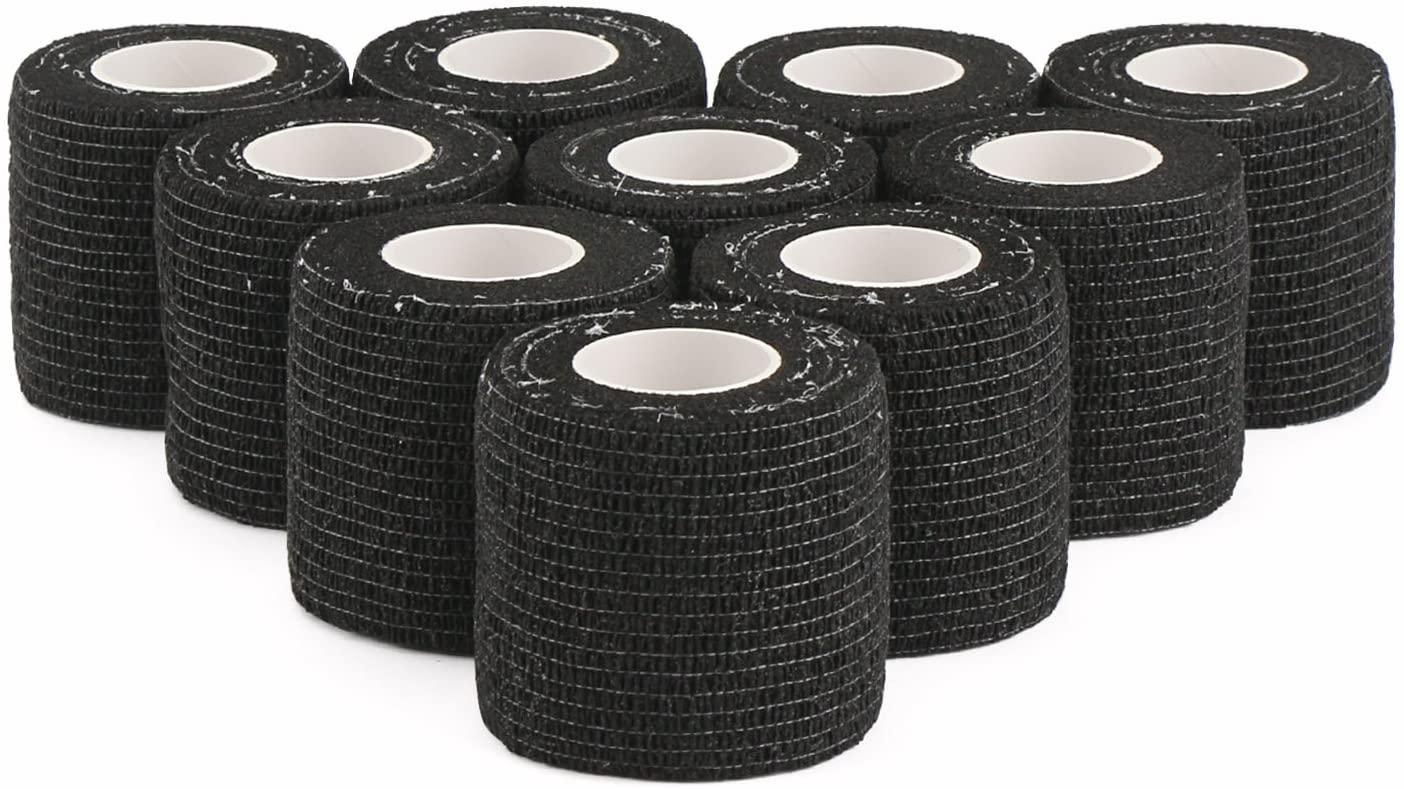 DROK 10 Roll Self Adhesive Tape, 2 Inch 4.92yds 14.76ft Breathable Nonwoven Fabric Protective Tape, Flexible Cling Scope Wrap, Military Camo Stretch Bandage Stealth Tape for Gun Knife Handle Covering