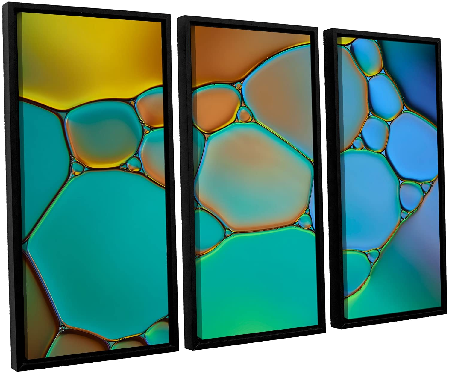 ArtWall Cora Niele's Connected II 3 Piece Floater Framed Canvas Set, 36 by 54