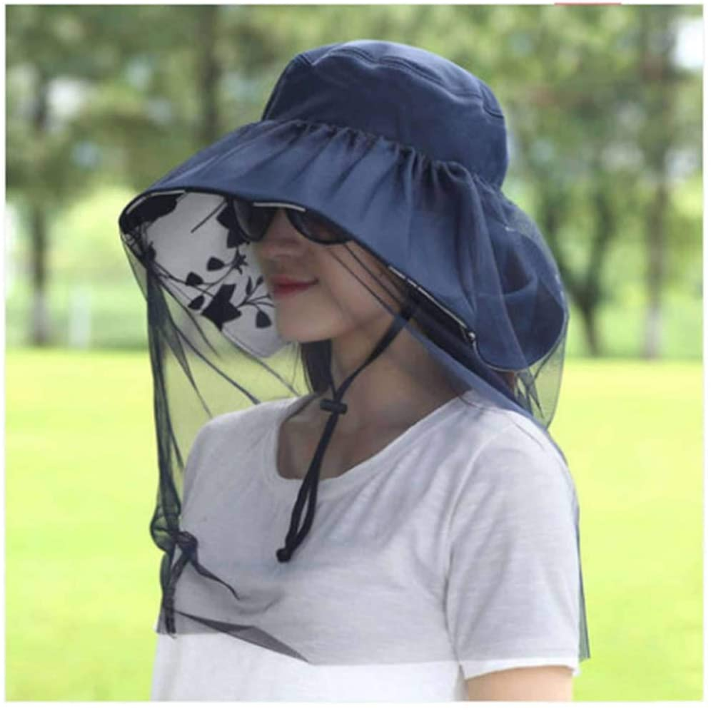 Visors Collapsible,Female Sun Protection Cover Face Anti-UV Fisherman Sun Shade Summer Beach Hat
