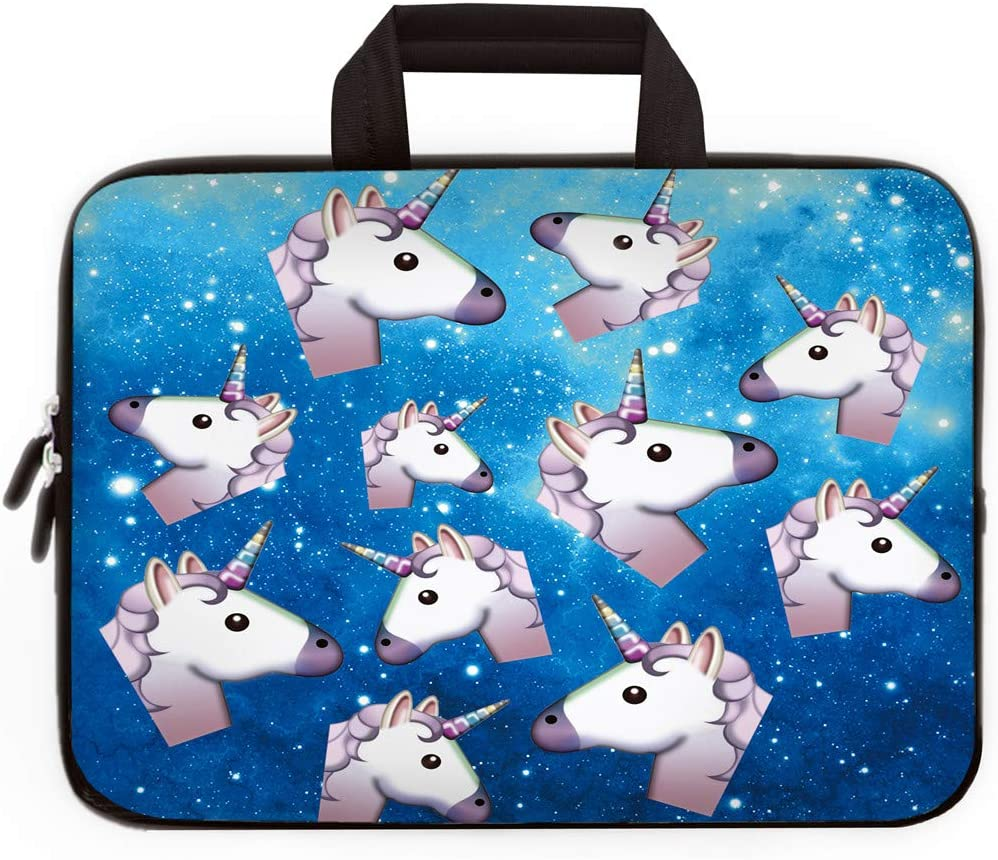 14 15 15.4 15.6 inch Laptop Handle Bag Computer Protect Case Pouch Holder Notebook Sleeve Neoprene Cover Soft Carrying Travel Case for Dell Lenovo Toshiba HP Chromebook ASUS Acer (Many Unicorns)
