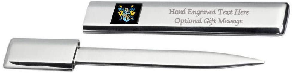 Rockett Family Crest Surname Coat Of Arms Heraldry Engraved Letter Opener