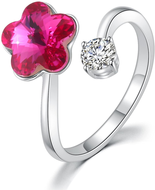 DRMglory Adjustable Finger Ring Star Finger Open Rings Litter Flower Swarovski Elements Crystal Ring, Woman Girls Fashion Jewerly, Birthday
